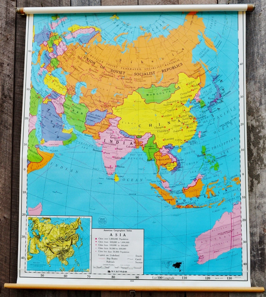 Pull Down Map Asia Vintage Nystrom Classroom School Wall Art – Full Asia Map