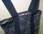Reserved for Ending Poet  -  Blue & White Striped Cloth Vintage Tote