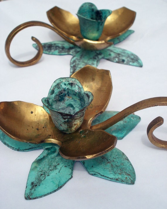 Pair of Brass and Copper Flower Candle Holders with patina
