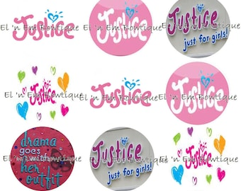 Justice For Girls 1 inch bottlecap image sheet
