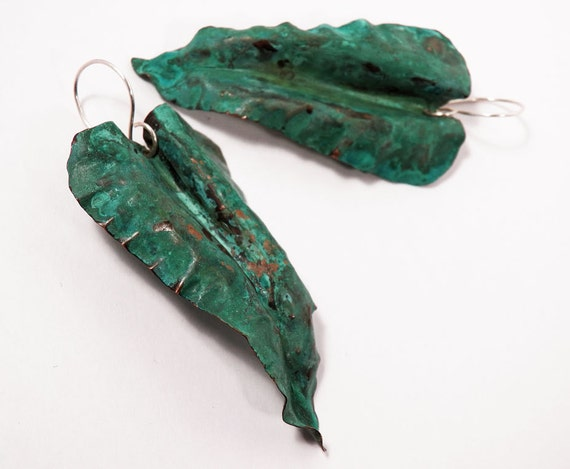 Handcrafted Copper Leaf - Organic Nature Art Jewelry - Blue Green Patina  - Dangle earrings
