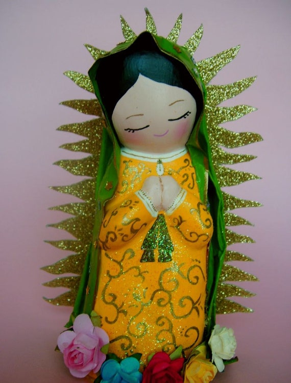 Lady Of Guadalupe  paper mache doll