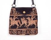 Vintage Embroidered Egyptian Motif Black and Gold Shoulder Bag / Purse
