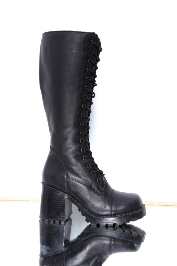 90s chunky heeled high leather combat boots 7