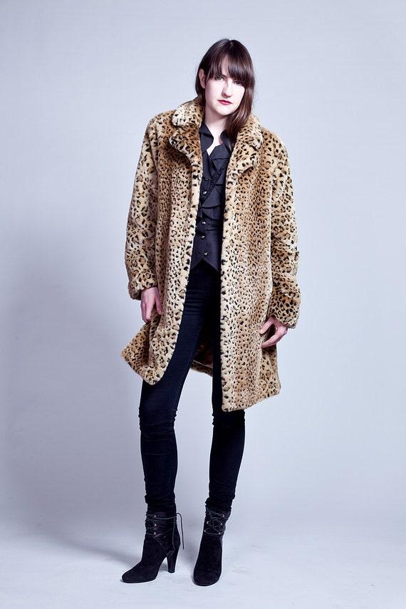 Leopard Print Faux Fur Coat M