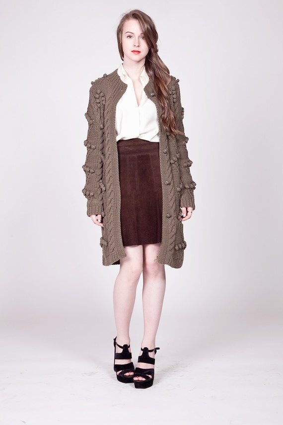 90s Army Green Long Bobble Knit Cardigan S