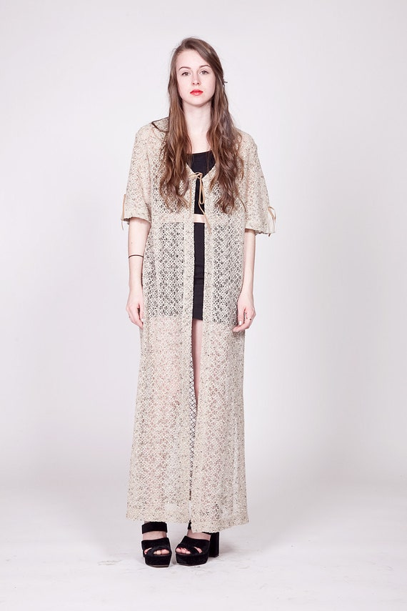 Oatmeal Sheer Duster / Tie Front Maxi Cardigan M L