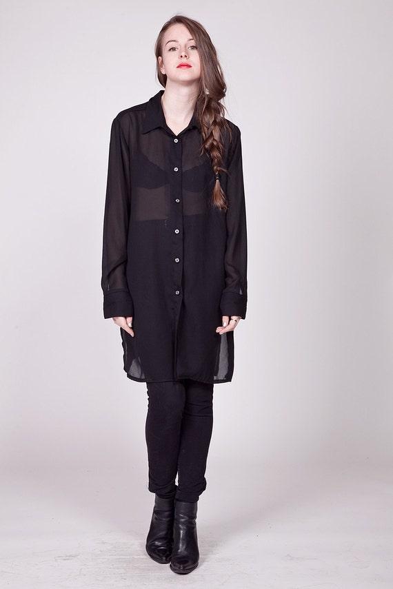 90s Sheer Black Extra Long Blouse / Tunic