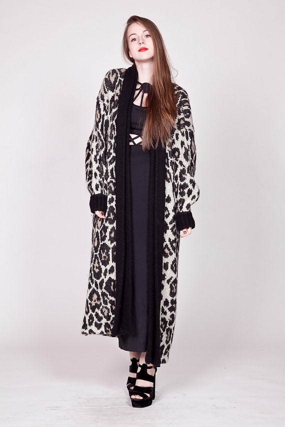 Vintage Leopard Print Wool Mohair Knit Coat / Floor Length Maxi Sweater L