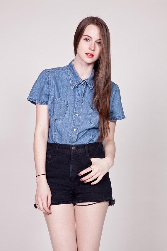 Vintage 90s Denim Blouse / Short Sleeve Jean Top M L
