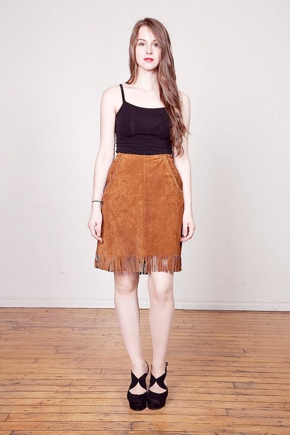 Vintage 1970s Suede Fringe Skirt / High Waisted Brown Leather Skirt M L