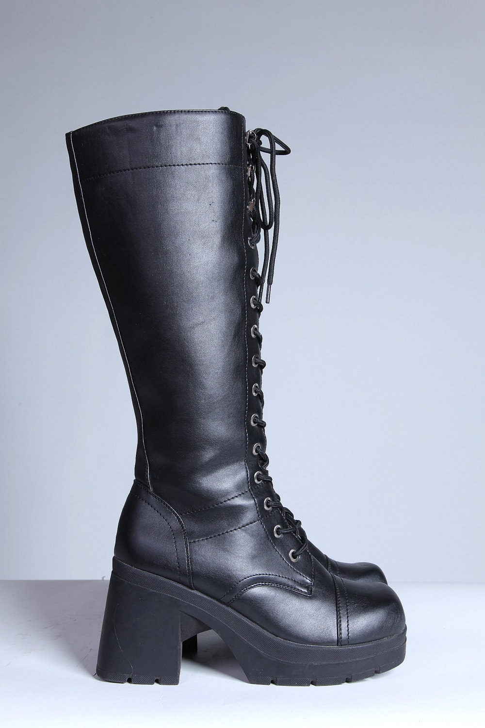 knee high chunky heeled lace up combat boots 11 by