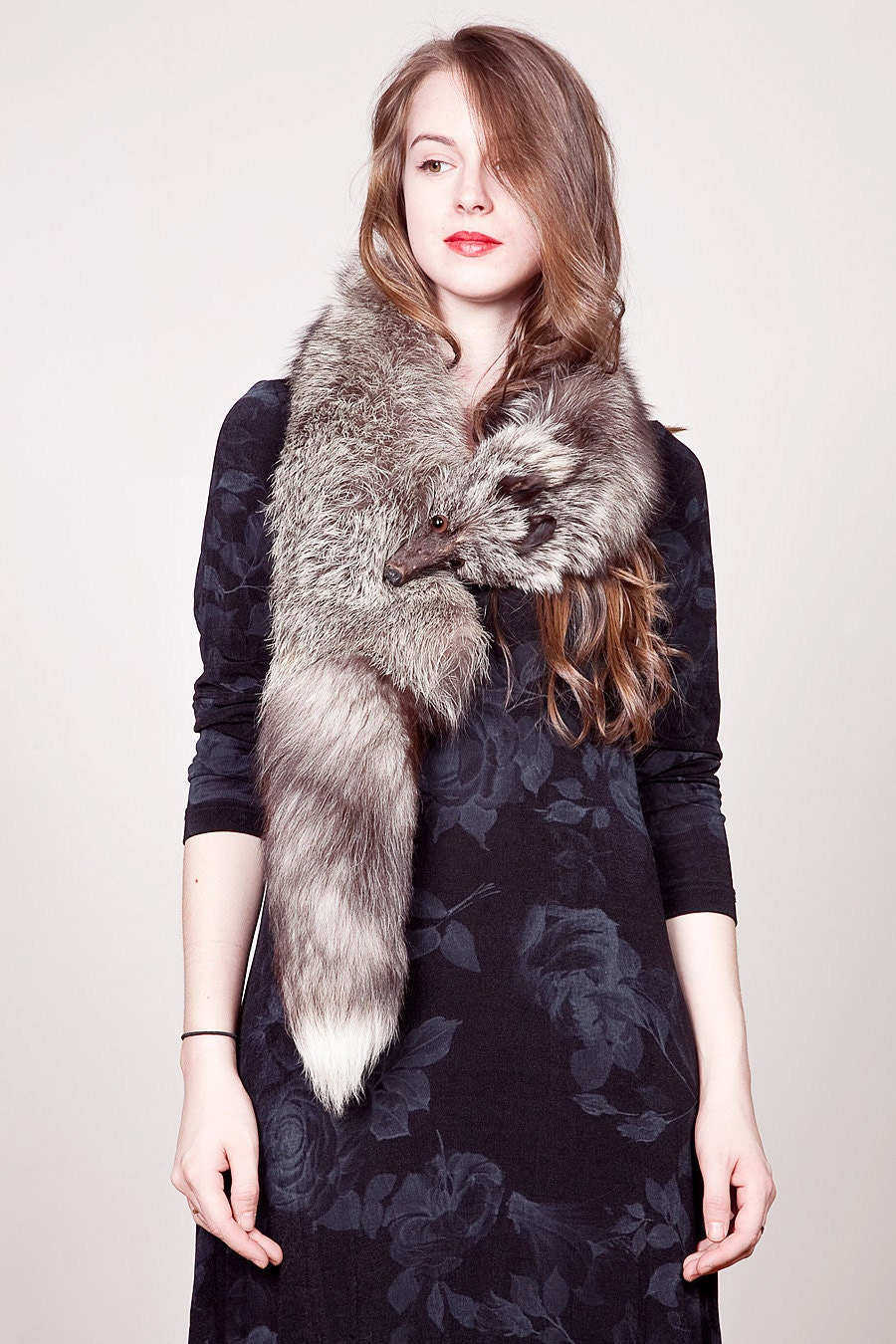 Vintage fox fur stole with head and tail - Stoel fur ...