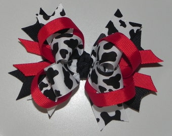 Layered Cow Hairbow Medium Size  Red Black & White