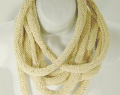 Japan relief aid - knit creamy white cotton multi-tube modern cowl necklace- featured on Etsy front page