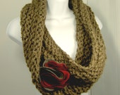 CUSTOM - Natural brown chunky knit linear textured twist cowl w/ red, burgundy, & grey felt flower