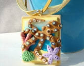 Octopus Coral Reef Polymer Clay Pendant Necklace