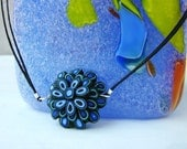 Electric Blue and Black Polymer Clay Flower Choker
