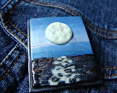 Full Moon over the Ocean Polymer Clay Pin