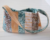 Patchwork Purse Hand Bag - Peach, Aqua, Brown, Cream, Light Blue Floral Butterfly
