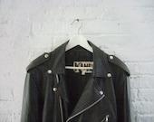 90s Black Leather Jacket Vintage Belted Motorcycle Jacket Grunge Car Coat Punk Goth Mens Small Steampunk Burberry style Biker Jacket