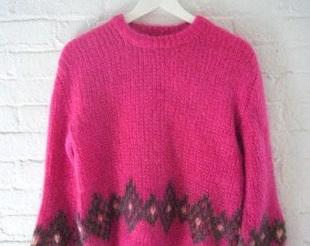 1960s Pink Mohair Sweater 60s Vintage Mod Wool Sweater Gray Harlequin Cropped Raspberry Fuschia Grey Diamond Medium Winter Ski Sweater
