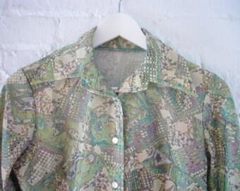 Snake Skin Novelty Print Shirt 90s Vintage Cropped Green Purple Cyber Liquid Pixel Abstract Grunge Mod Rave Seapunk Club Kid Shirt Blouse