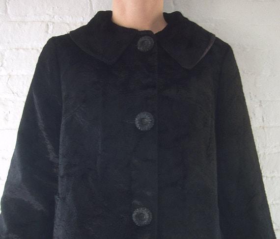 40s 50s Faux Persian Lamb Cropped Jacket Vintage Black Fake Fur Coat Peter Pan Collar Mod Bolero Vegan Fur Hollywood Glamour Retro Chic
