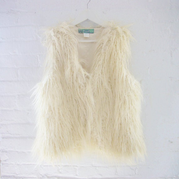 90s Faux Fur Vest Vintage Boho White Fake Fur Vest Grunge Mod Steampunk Club Kid Glam Rock Gaga Playa Burningman Vegan Fur Vest