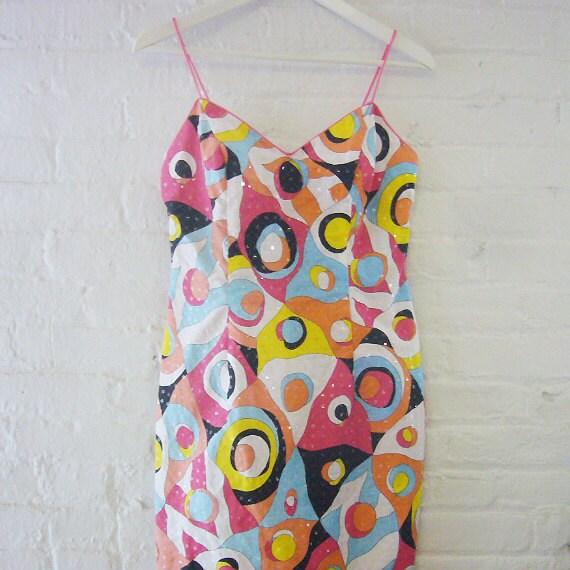 Mini Dress Slip Dress 90s Vintage Mod Cotton Sundress Yum Yum Rainbow Color Block Pop Art Medium Large Multicolor Clueless Club Kid Dress