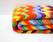 Vintage rainbow chevron strip crochet blanket