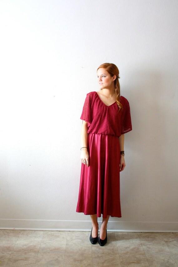 Vintage lace like maroon dress