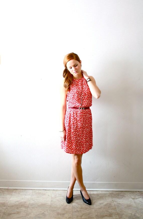 Vintage red floral summer dress