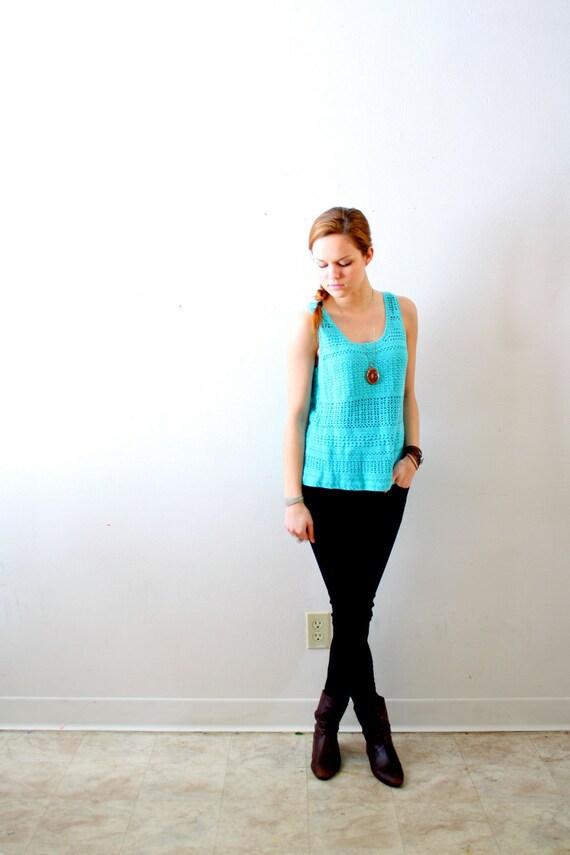 Vintage crochet blue tank top