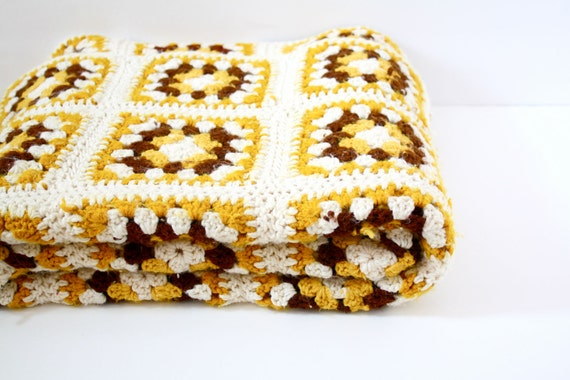 Vintage mustard yellow and brown crochet blanket