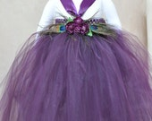 Peacock and floral tutu dress. Purple crocheted top with eggplant/plum tulle bottom