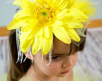 Exquisite Yellow flower headband with  feather embellishments. Can be made for 6mths -4T.
