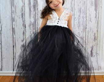 Black and White tutu halter Tuxedo style Dress. Crocheted white top with lace and black buttons.