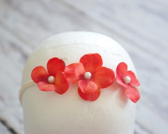 Coral hydrangea headband with pearl embellishments