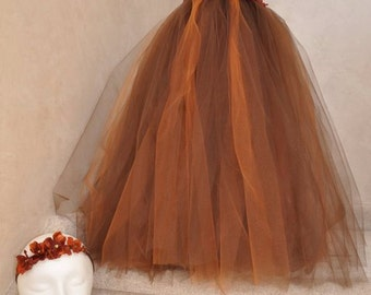 Rust and brown hydrangea tutu dress. Brown crocheted top with brown and rust tulle bottom