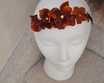 Exquisite Rust Hydrangea flower headband with amber rhinestone embellishments.