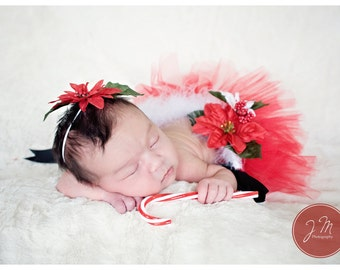 Santa's Helper preemie or newborn tutu set. Comes with headband. Made halfway around to make laying more comfortable.