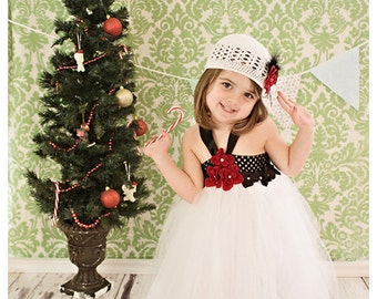 Holiday Sparkle Hydrangea dress with rhinestones. White Tulle and black crochet top. Black trim.