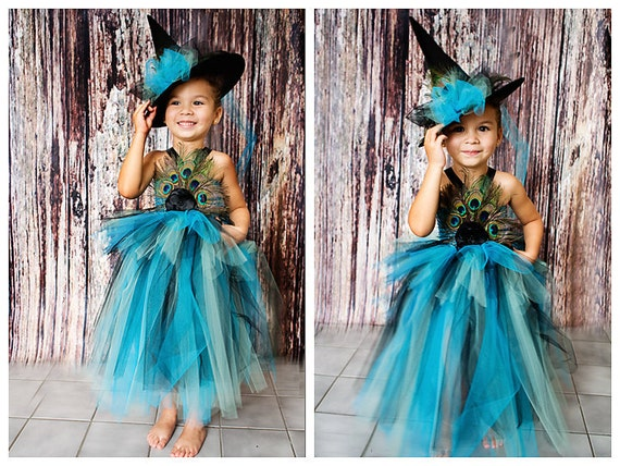 Witch tutu dress. Crocheted top  with peacock feathers flower and tulle embellishments  Matching Hat Available