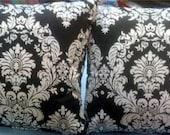 Black/ White Damask Throw Pillows Pair 16 x 16