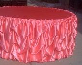 Custom Made Wedding Cake Table Tablecloth Salmon Satin