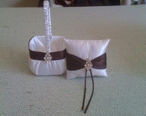 White with Chocolate Brown  Flower Girl Basket and Ring bearer Pillow with Bling