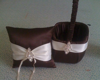 Chocolate Brown and Ivory Flower girl basket and pillow