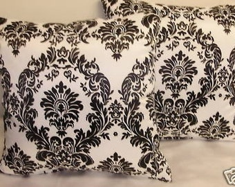 Black/ White Damask Throw Pillows Pair 16 x 16
