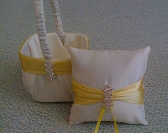 Ivory with yellow flower girl basket and pillow